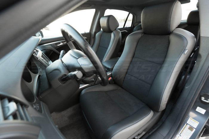 Drivers side installed upholstery - close up - 04- 08 Acura TL Black, Black Suede & Light Grey Kit