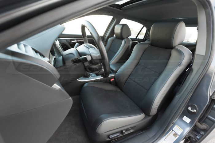 Drivers side installed upholstery - close view - 04- 08 Acura TL Black, Black Suede & Light Grey Kit