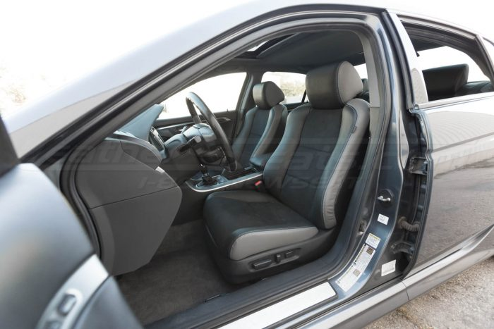 Drivers side installed upholstery - wide view - 04- 08 Acura TL Black, Black Suede & Light Grey Kit