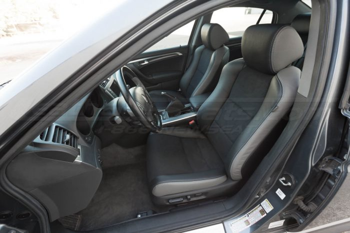 Drivers side installed upholstery - 04- 08 Acura TL Black, Black Suede & Light Grey Kit