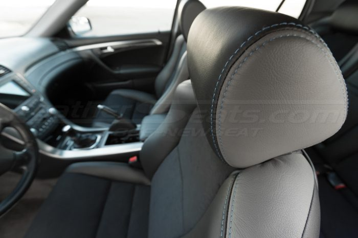 Drives side headrest double-stitching - 04- 08 Acura TL Black, Black Suede & Light Grey Kit