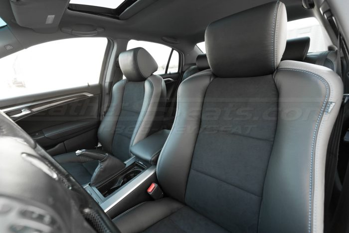 installed upholstery drivers side insert and headrest - 04- 08 Acura TL Black, Black Suede & Light Grey Kit