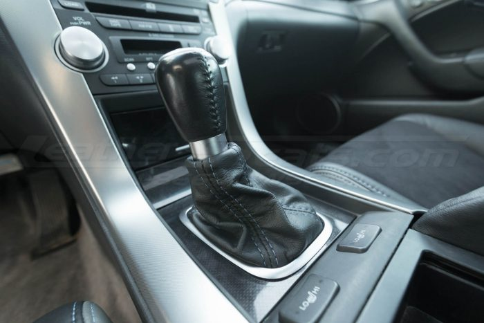 Installed shift boot upholstery - 04- 08 Acura TL Black, Black Suede & Light Grey Kit