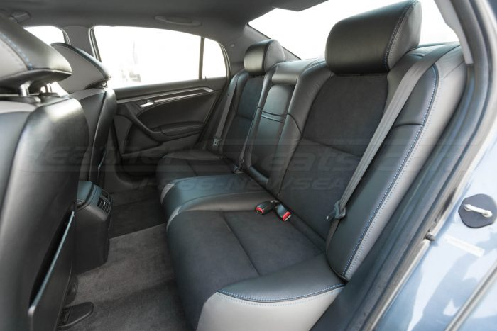 Installed rear seat upholstery - side view - 04- 08 Acura TL Black, Black Suede & Light Grey Kit