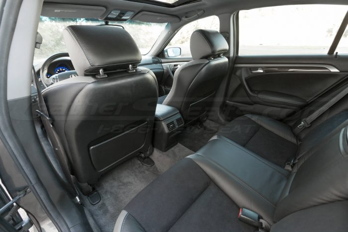 Rear seat installed upholstery overview- 04- 08 Acura TL Black, Black Suede & Light Grey Kit