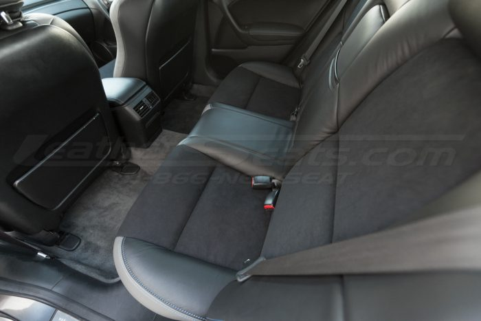 Installed rear seat upholstery - downward view - 04- 08 Acura TL Black, Black Suede & Light Grey Kit