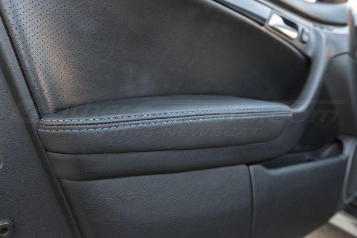 Installed door armrest upholstery - 04- 08 Acura TL Black, Black Suede & Light Grey Kit