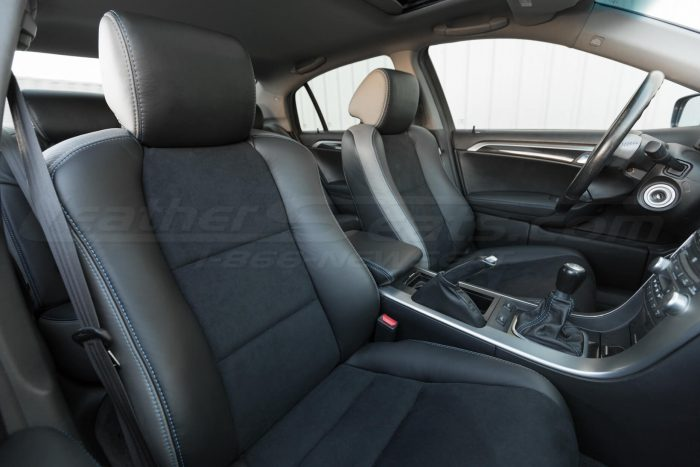Installed upholstery - front seats - 04- 08 Acura TL Black, Black Suede & Light Grey Kit 3