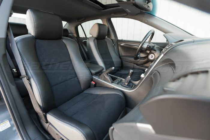 Installed upholstery - front seats - 04- 08 Acura TL Black, Black Suede & Light Grey Kit