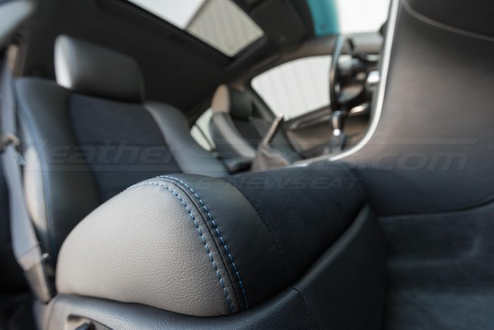 Passenger front cushion double-stitching - 04- 08 Acura TL Black, Black Suede & Light Grey Kit