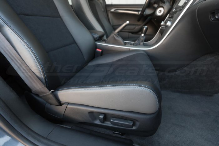 Front passenger seat cushion installed upholstery - 04- 08 Acura TL Black, Black Suede & Light Grey Kit