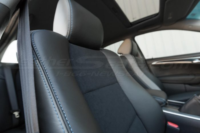 Installed upholstery w/ insert and double-stitching view - 04- 08 Acura TL Black, Black Suede & Light Grey Kit