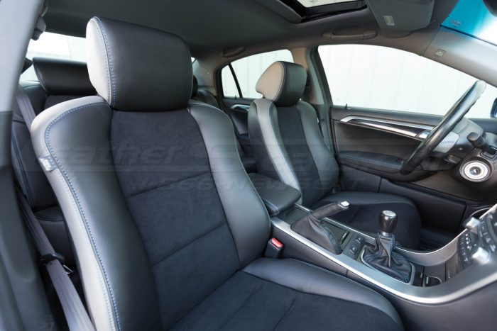 Passenger view of installed upholstery - 04- 08 Acura TL Black, Black Suede & Light Grey Kit
