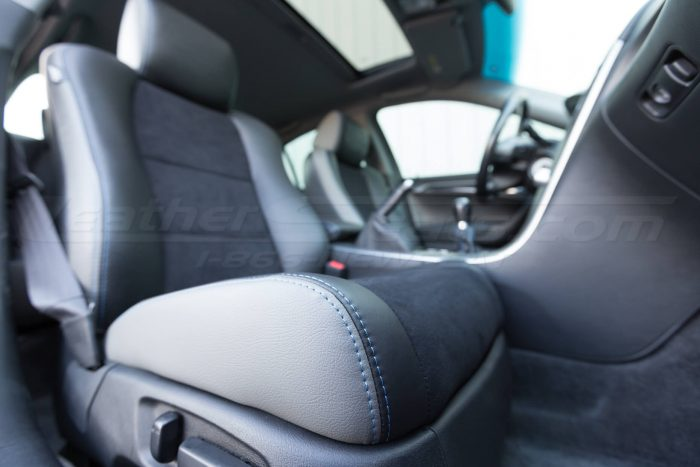Full installed upholstery w/ double-stitching close-up 04- 08 Acura TL Black, Black Suede & Light Grey Kit