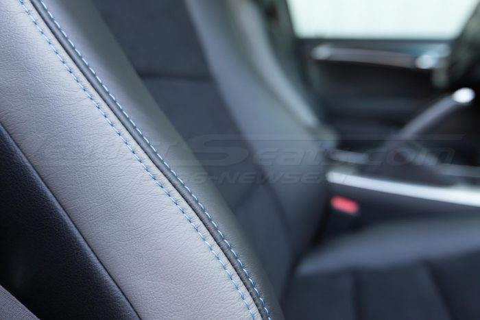 Double-stitching close-up. - 04-08 Acura TL Black, Black Suede & Light Grey