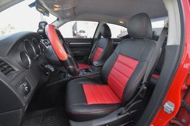 Dodge Charger Installed Upholstery Kit - Dark Graphite & Red