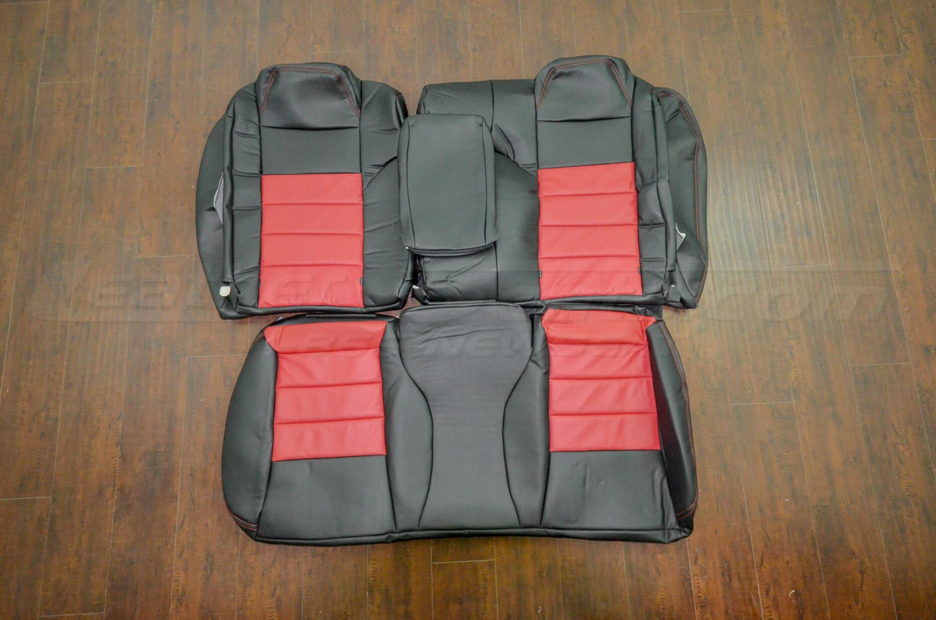 Leather upholstery kit - Dark Graphite w/ Red - Rear Seats