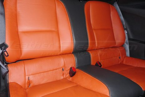 10-15 Chevrolet Camaro Upholstery Kit - Black & Tangerine - Installed rear seats