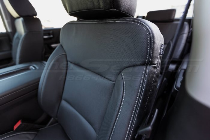2014-2018 Chevrolet Silverado LeatherSeat Kit - Black - Installed - Side double-stitching focus