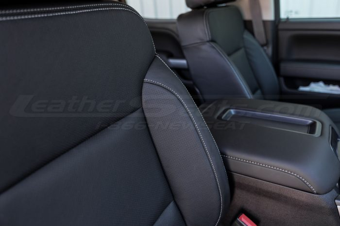 2014-2018 Chevrolet Silverado LeatherSeat Kit - Black - Installed - Bolster Double-Stitching close-up