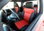 GMC Sierra leather upholstery kit - Black and Bright Red