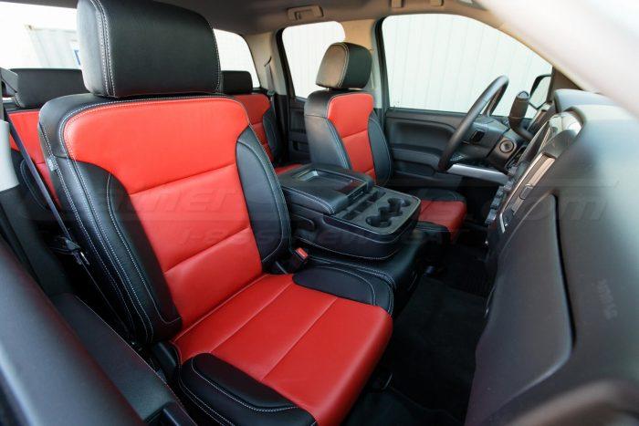GMC Sierra Black and Bright Red passenger seat