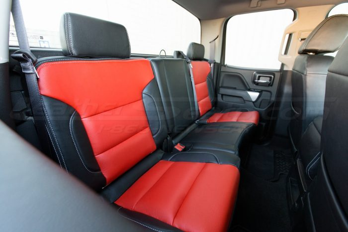 GMC Sierra installed upholstery kit - black and Bright red - back seats