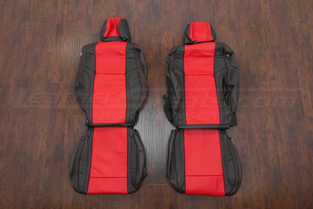 Leather Upholstery Kit - Black & Bright Red - Front Seats