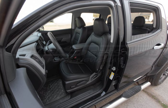 Installed 15-20 Chevrolet Colorado Leather Kit - Black - Front driver seats wide angle