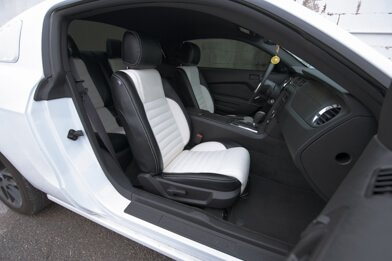 Ford Mustang installed leather kit - Black & White - Featured Image