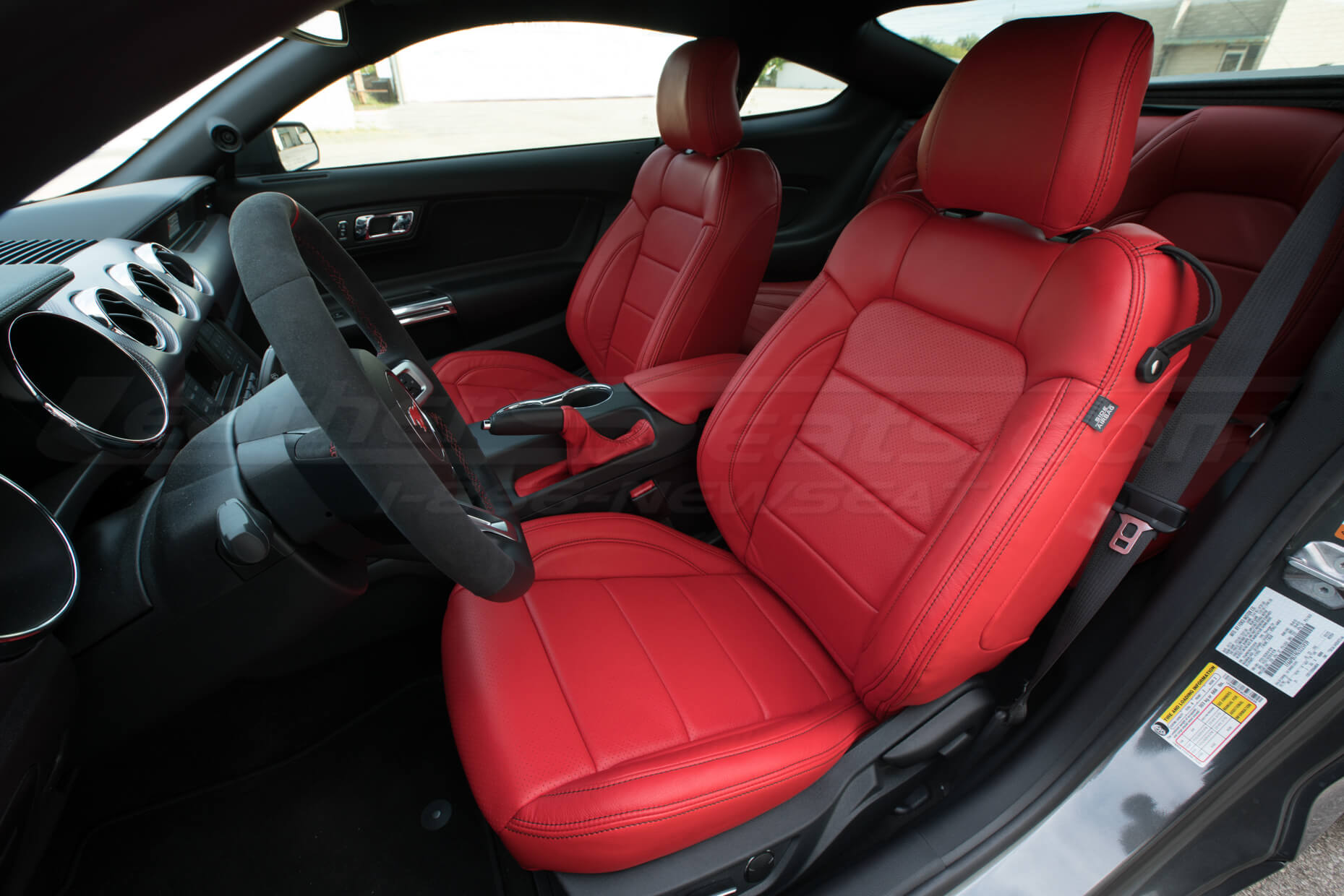 2015-2020 Ford Mustang install - Bright Red - Front Driver seat