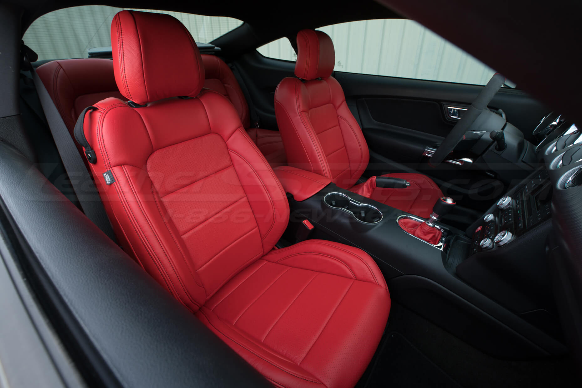 Ford Mustang Bright Red Upholstery Kit - Front interior