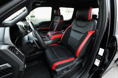 Ford Raptor installed upholstery kit - Black & Bright Red - Featured image