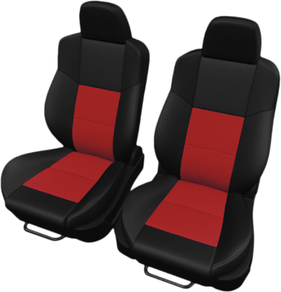 Two-tone black with red inserts leather seat upholstery.