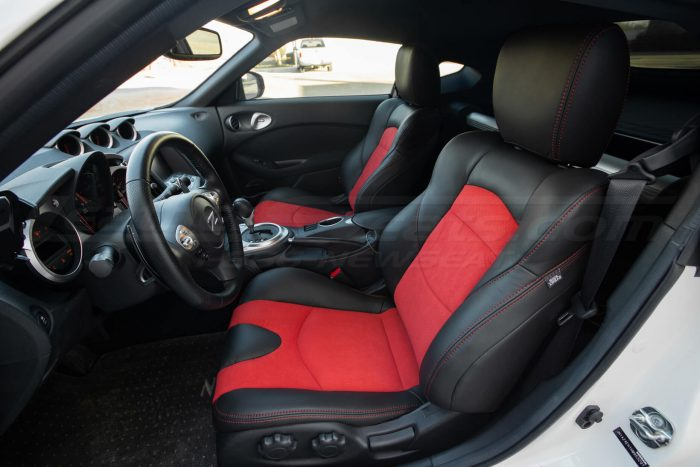Nissan 370Z Leather Seats - Black & Red Suede - Installed - Front driver side interior