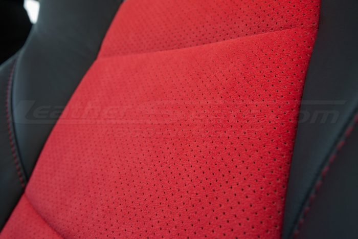 Nissan 370Z Leather Seats - Black & Red Suede - Installed - Perforated Suede