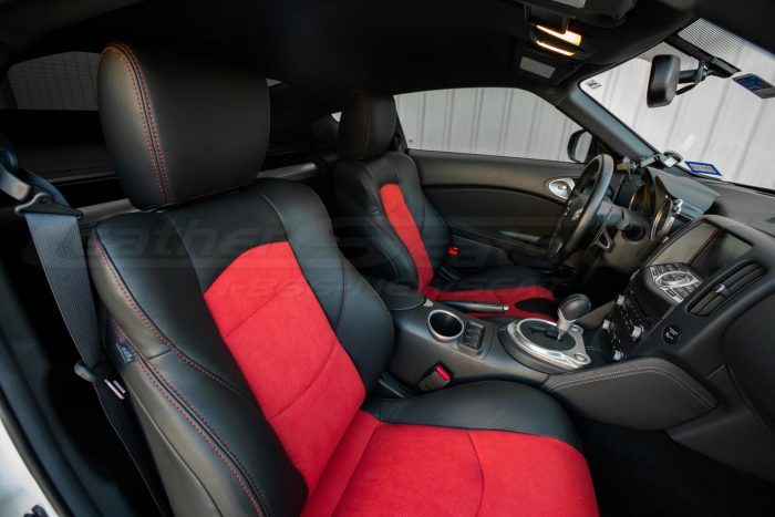 Nissan 370Z Leather Seats - Black & Red Suede - Installed - Front interior from passenger side