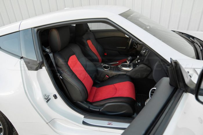 Nissan 370Z Leather Seats - Black & Red Suede - Installed - Front passenger seat wide angle