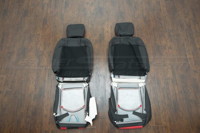 Nissan 370Z upholstery kit - Black w/ Red Suede - Back of front seats