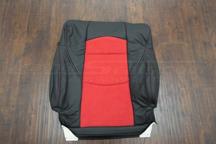 Nissan 370Z upholstery kit - Black w/ Red Suede - Front backrest