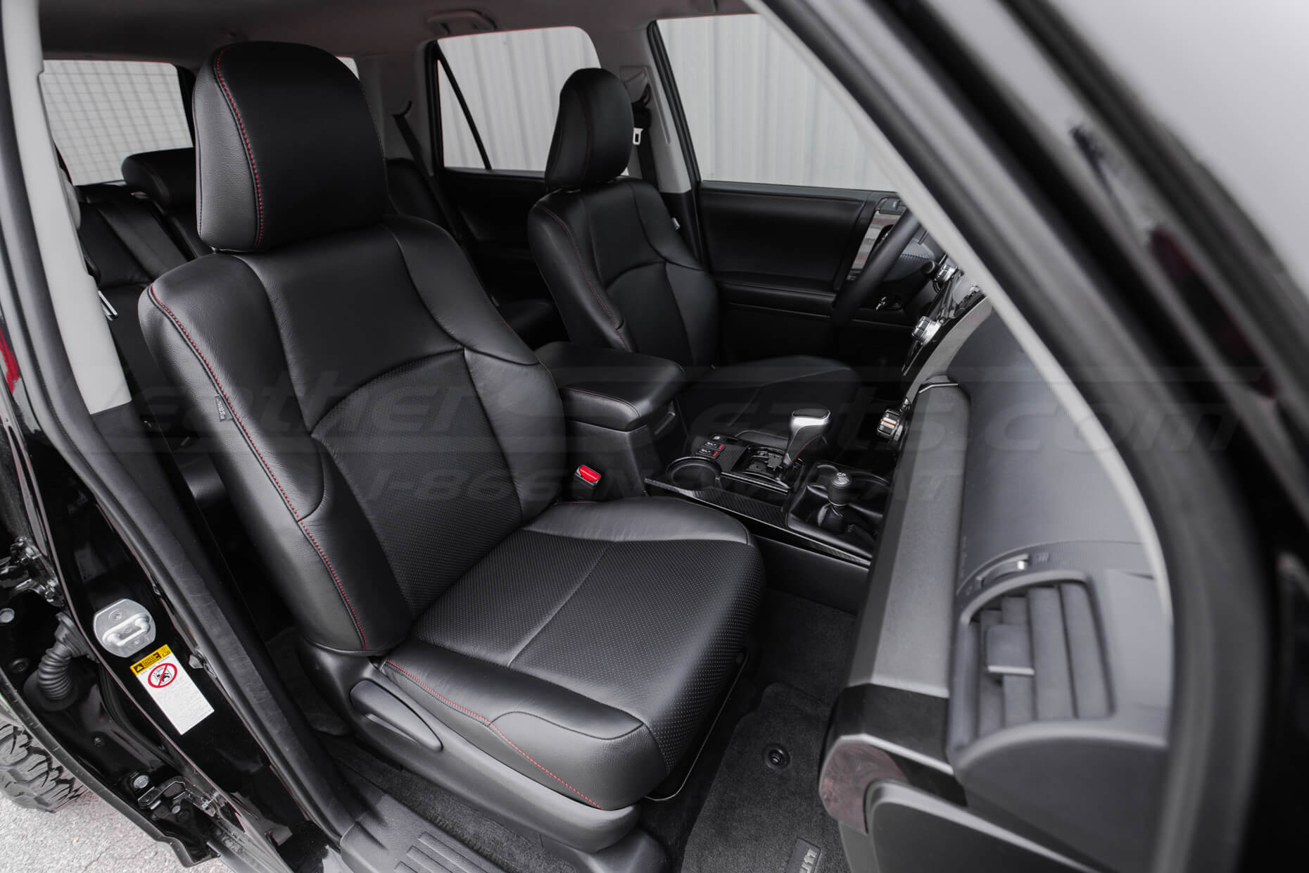 2010-2018 Toyota 4Runner Single-Tone Black Double-Stitched in Red - Front passenger