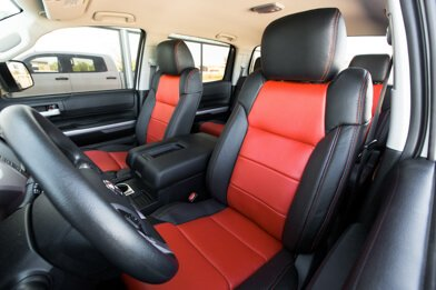 Toyota Tundra Leather Kit Installed - Black & Bright Red - Featured Image