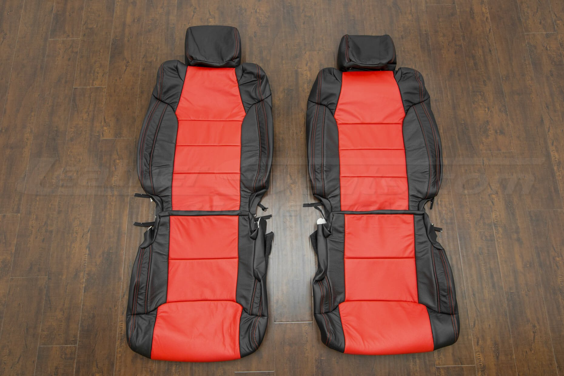 Toyota Tundra leather upholstery kit - black/bright red/piazza red