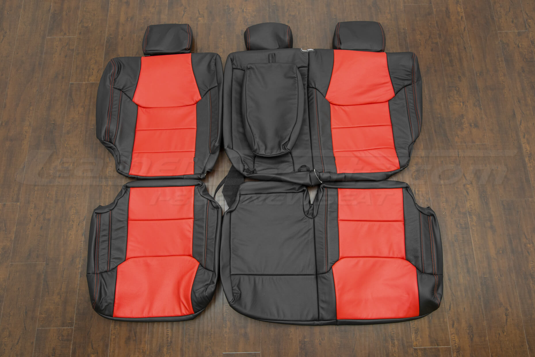 Toyota Tundra leather upholstery kit - Black/Bright Red/Piazza Red - Rear
