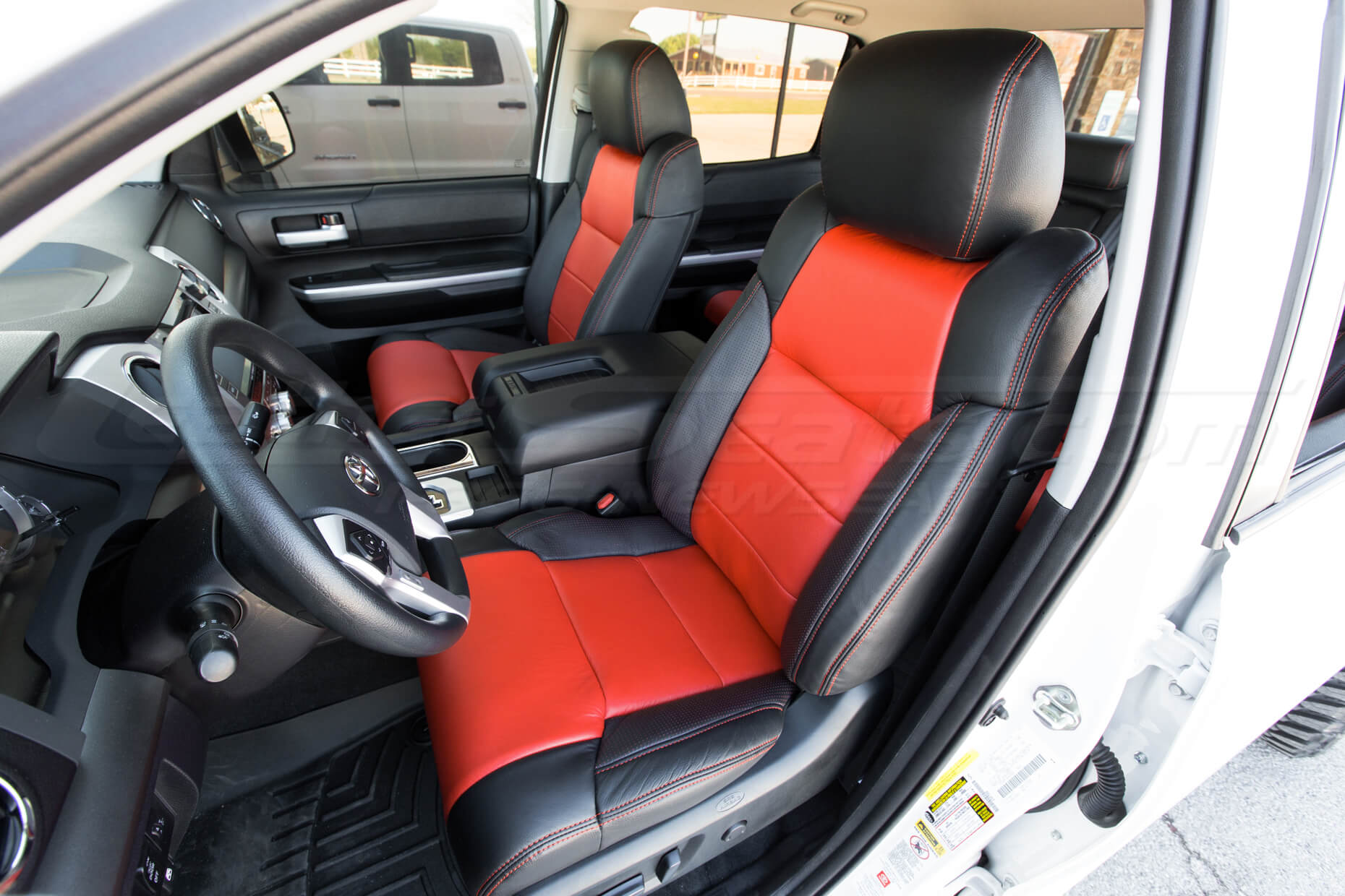 Toyota Tundra installed kit - Black, Bright Red, Piazza red - Front driver seat