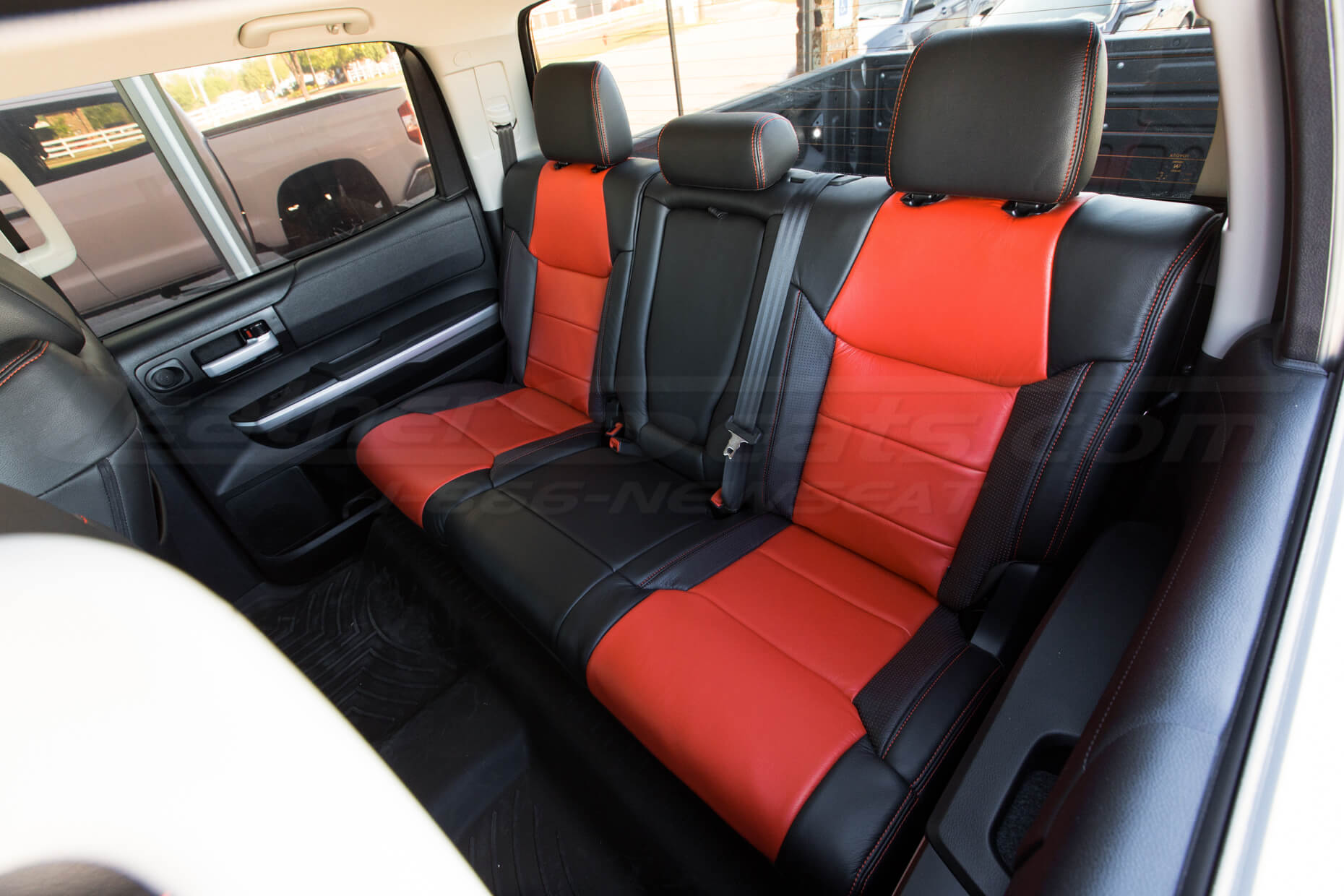 Toyota Tundra installed kit - Black, Bright Red, Piazza red - Rear seats