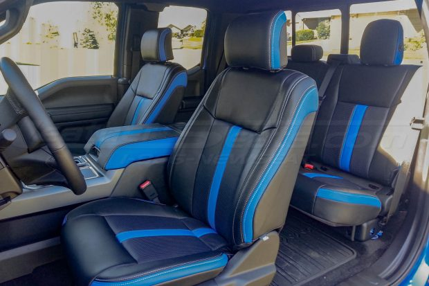 Ford F-150 Upholstery Kit - Installed - Black & Piazza Blue - Front Drivers side alternative angle