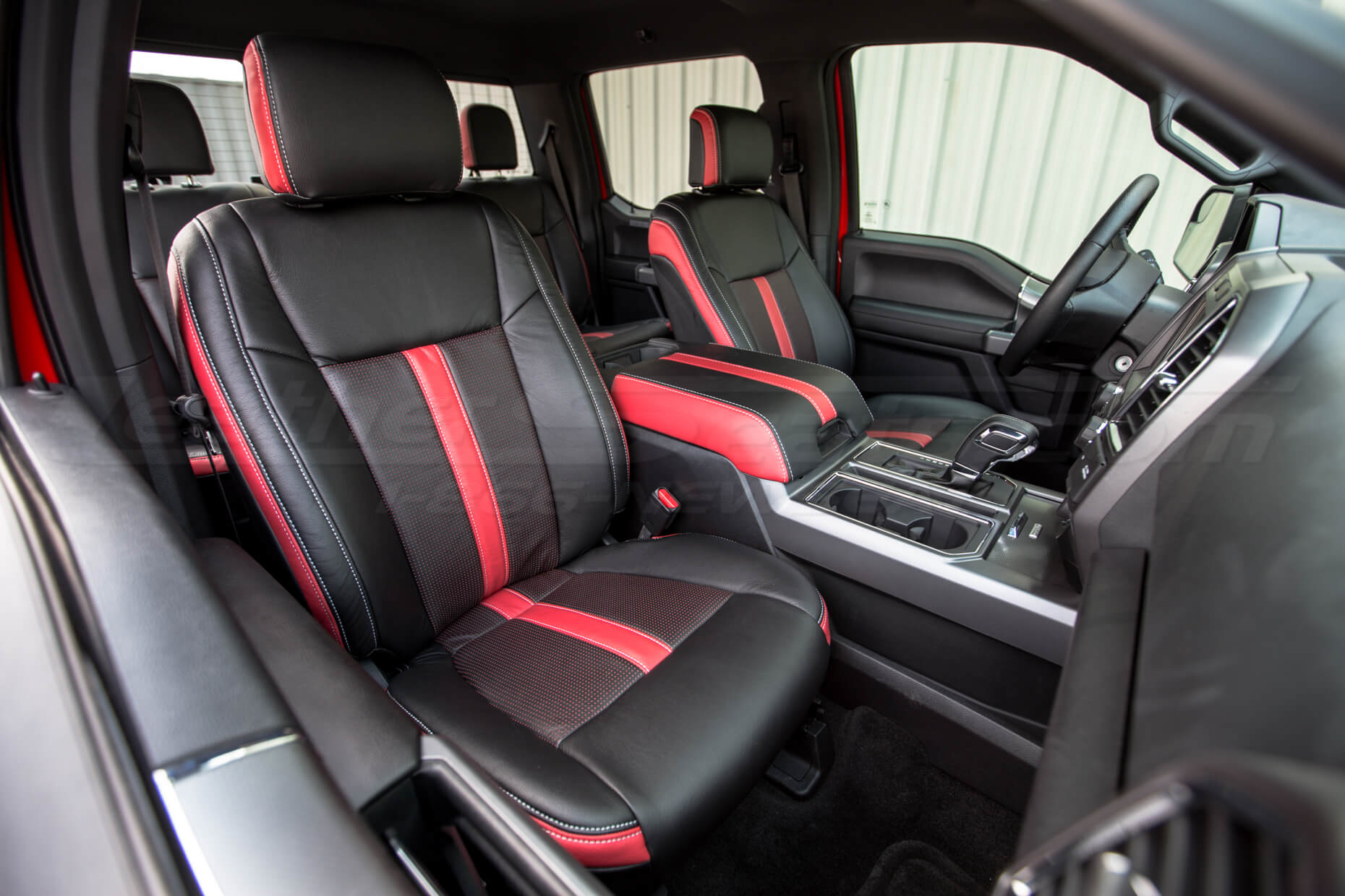 2015-2020 Ford F-150 Installed Black & Piazza Red - Front Passenger Seat