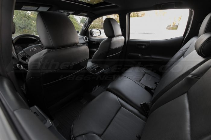 2016-2020 Toyota Tacoma Leather Seats - Black - Installed - Back view of front seats