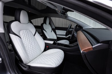 Tesla Model 3 Leather Seats - Black & Nappa White - Featured Image